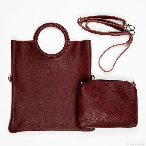 LEATHER CIRCLE HANDLE CLARET